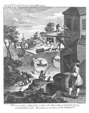 <b>Title</b> : The importance of knowing perspective, 18th century (engraving) (b/w photo)<br><b>Medium</b> : engraving<br><b>Location</b> : Private Collection<br> - gettyimageskorea