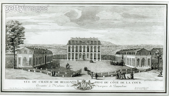 <b>Title</b> : View of the Courtyard Facade of the Bellevue Castle, c.1750 (etching) (b/w photo)Additional InfoVue du chateau de Bellevue cote<br><b>Medium</b> : <br><b>Location</b> : Musee de l'Ile de France, Sceaux, France<br> - gettyimageskorea