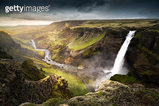 Háifoss waterfall is situated near the volcano Hekla in the south of Iceland. - gettyimageskorea