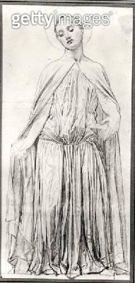 <b>Title</b> : St. Adelaide, 1842 (graphite) (b/w photo)<br><b>Medium</b> : graphite<br><b>Location</b> : Musee Bonnat, Bayonne, France<br> - gettyimageskorea