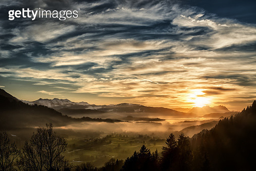 View from Allgäu in Germany (Obersdorf) over the Austrian Vorarlberg till to the Alpstein and Mountain Säntis in Switzerland in the background. - gettyimageskorea