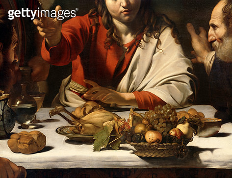 <b>Title</b> : The Supper at Emmaus, 1601 (oil and tempera on canvas) (detail of 928)<br><b>Medium</b> : oil and tempera on canvas<br><b>Location</b> : National Gallery, London, UK<br> - gettyimageskorea