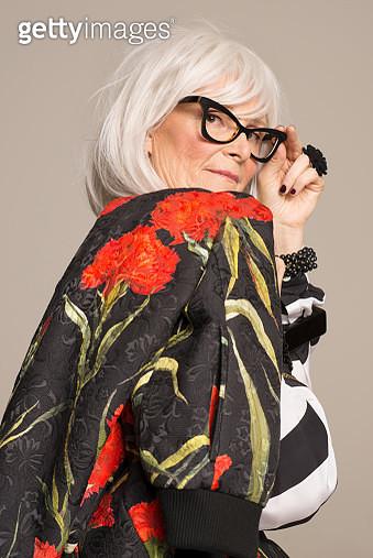 Advanced Style portrait of senior woman - gettyimageskorea