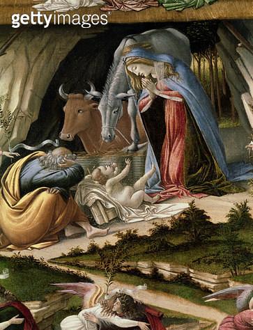 <b>Title</b> : Mystic Nativity, 1500 (oil on canvas)<br><b>Medium</b> : oil on canvas<br><b>Location</b> : National Gallery, London, UK<br> - gettyimageskorea