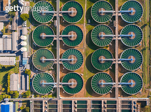 Aerial top view water treatment plant for Environment conservation. - gettyimageskorea