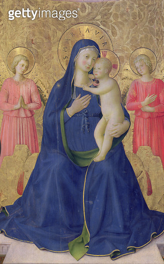 <b>Title</b> : The Bosco ai Frati Altarpiece: The Virgin and Child enthroned with two angels, 1452 (tempera on panel) (detail of 43968)<br><b>Medium</b> : <br><b>Location</b> : Museo di San Marco dell'Angelico, Florence, Italy<br> - gettyimageskorea