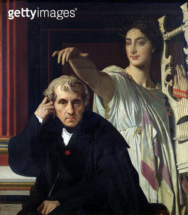<b>Title</b> : Portrait of the Italian Composer Cherubini (1760-1842) and the Muse of Lyrical Poetry, 1842 (oil on canvas)<br><b>Medium</b> : oil on canvas<br><b>Location</b> : Louvre, Paris, France<br> - gettyimageskorea