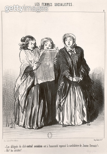 <b>Title</b> : The Socialist Women, 1849 (litho) (b/w photo)Additional InfoJeanne Deroin (1805-94) activist for the rights of women and workers<br><b>Medium</b> : <br><b>Location</b> : Bibliotheque Nationale, Paris, France<br> - gettyimageskorea