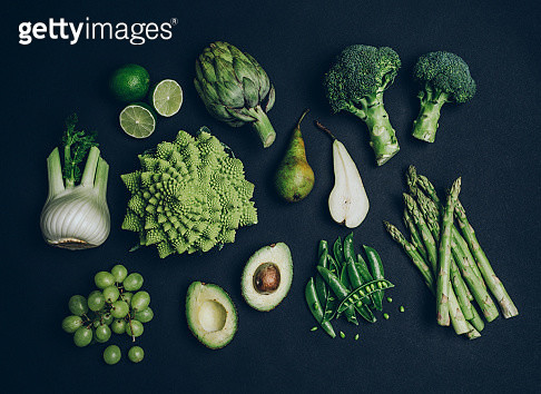 Green vegetables shoot from above over head - gettyimageskorea