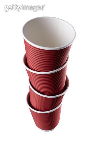 Zigzag Stack of Coffee Cups - gettyimageskorea