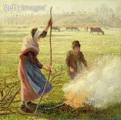 <b>Title</b> : White Frost, woman breaking wood, 1890<br><b>Medium</b> : oil on canvas<br><b>Location</b> : Private Collection<br> - gettyimageskorea