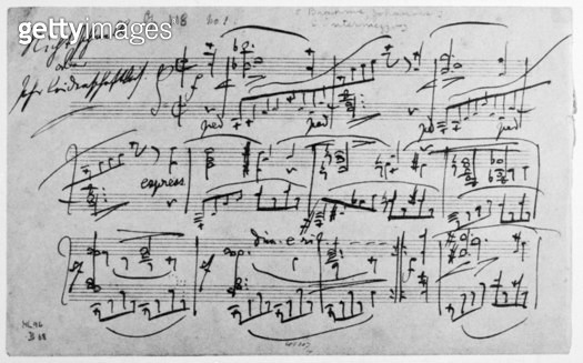 BRAHMS MANUSCRIPT, 1892. /nManuscript page of Johannes Brahms' 'Intermezzo for Piano,' Op. 118, No. 1, 1892. - gettyimageskorea