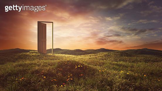 Open doors on the summer meadow - gettyimageskorea