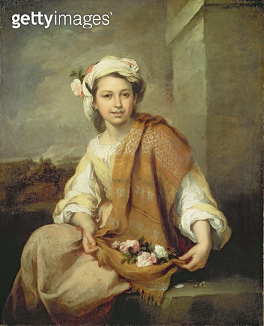 <b>Title</b> : The Flower Girl, c.1665-70<br><b>Medium</b> : oil on canvas<br><b>Location</b> : Dulwich Picture Gallery, London, UK<br> - gettyimageskorea