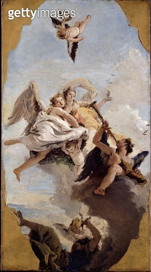 <b>Title</b> : Fortitude and Wisdom, or Wisdom putting Ignorance to Flight, modello for a ceiling fresco in the Villa Cordellina, Montecchio Ma<br><b>Medium</b> : <br><b>Location</b> : Dulwich Picture Gallery, London, UK<br> - gettyimageskorea