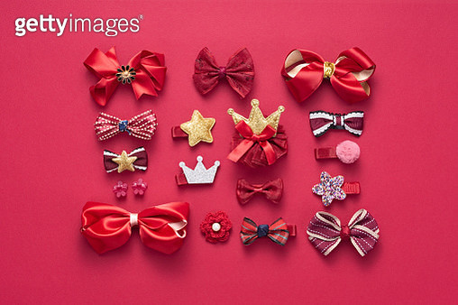 Red Colored Hair Accessory Collection Directly Above View. - gettyimageskorea