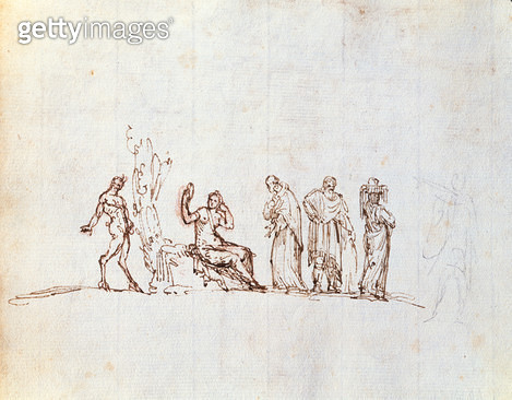 Five Sketches of Classical Figures (ink on paper) - gettyimageskorea
