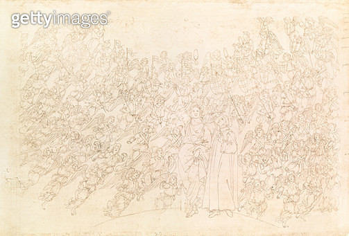<b>Title</b> : Dante and Beatrice, from Dante's `Divine Comedy', c.1480 (pen & ink on paper)<br><b>Medium</b> : pen and ink on paper<br><b>Location</b> : Bibliotheque Nationale, Paris, France<br> - gettyimageskorea