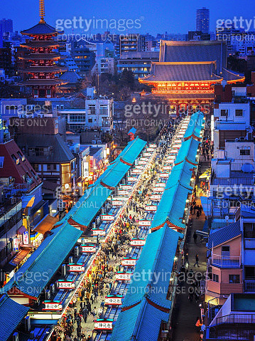 Japanese Impression, Tokyo Cityscape with Asakusa Kannon Temple and Nakamise-Dori Shopping Street at Dusk - gettyimageskorea