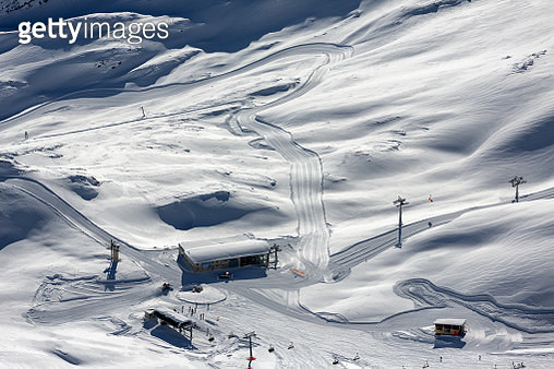 High Angle View Of Snow Covered Mountain - gettyimageskorea