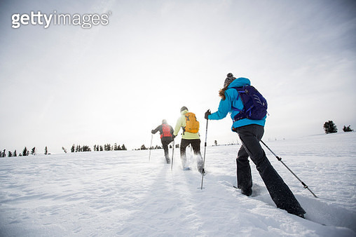 Snow shoeing in the Winter - gettyimageskorea