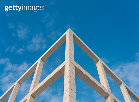 Low Angle View Of Building Against Blue Sky - gettyimageskorea