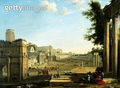 <b>Title</b> : The Campo Vaccino, Rome (oil on canvas)Additional Infoa good contemporary copy of Claude's original in the Louvre of c.1636;<br><b>Medium</b> : oil on canvas<br><b>Location</b> : Dulwich Picture Gallery, London, UK<br> - gettyimageskorea