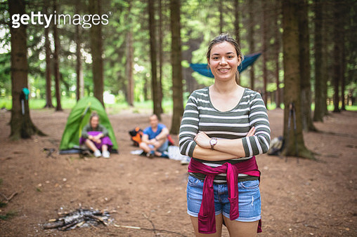 Professional hiker and her camp buddies - gettyimageskorea
