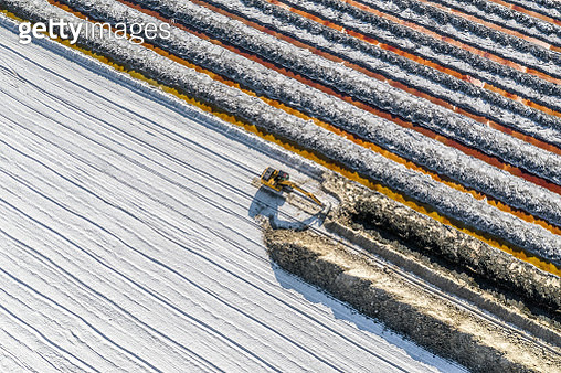 Aerial image of an excavator working in a salt mine, California, United States of America - gettyimageskorea