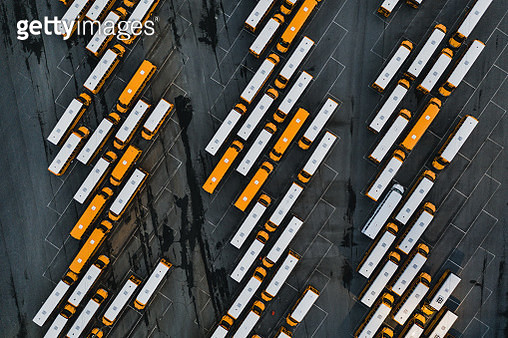 School buses as seen from above, North Carolina, United States of America - gettyimageskorea