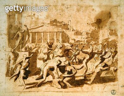 <b>Title</b> : The Rape of the Sabine Women (pen & ink wash on paper)Additional InfoIl Ratto dell Sabine;<br><b>Medium</b> : pen and ink wash on paper<br><b>Location</b> : Gabinetto dei Disegni e Stampe, Uffizi, Florence, Italy<br> - gettyimageskorea