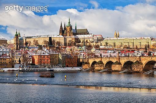 View of Prague and Charles Bridge at winter - gettyimageskorea