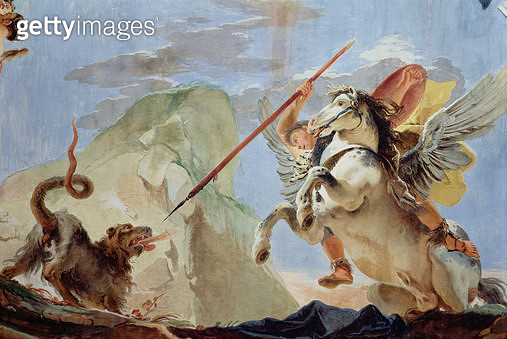 <b>Title</b> : Bellerophon, riding Pegasus, slaying the Chimaera, detail of the ceiling (fresco) (see also 64554)<br><b>Medium</b> : <br><b>Location</b> : Palazzo Sandi-Porto (Cipollato), Venice, Italy<br> - gettyimageskorea