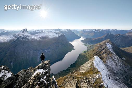 Norway, More og Romsdal, Orsta, Sunnmore Alps, trek to the summit of Slogen (1564m) dominating the Hjorundfjord - gettyimageskorea