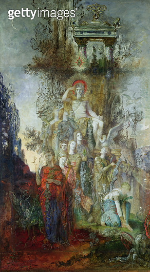 <b>Title</b> : The Muses Leaving their Father Apollo to Go Out and Light the World, 1868 (oil on canvas)<br><b>Medium</b> : oil on canvas<br><b>Location</b> : Musee Gustave Moreau, Paris, France<br> - gettyimageskorea