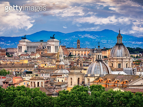 City view and Colosseum, National Monument to Victor Emmanuel II and Capitoline Hill, Rome, Lazio, Italy - gettyimageskorea