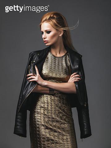 Beautiful woman wearing leather jacket - gettyimageskorea