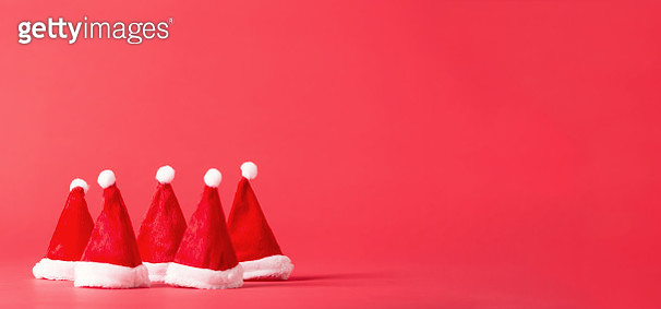Santa hats on a bright background - gettyimageskorea