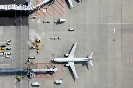 Aerial view of airplane - gettyimageskorea