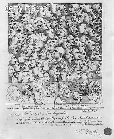 <b>Title</b> : Characters and Caricatures, published in April 1743 (etching) (b/w photo)<br><b>Medium</b> : etching<br><b>Location</b> : British Museum, London, UK<br> - gettyimageskorea