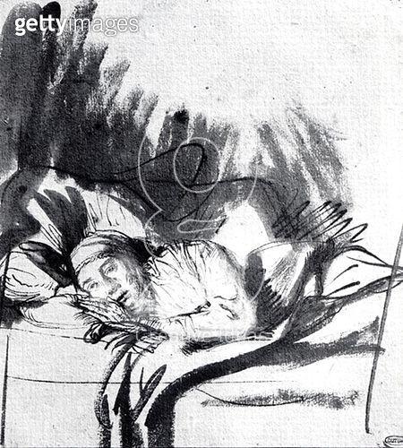 <b>Title</b> : Sick woman in a bed, maybe Saskia, wife of the painter, c.1640 (pen & bistre on paper) (b/w photo)<br><b>Medium</b> : pen and bistre on paper<br><b>Location</b> : Musee de la Ville de Paris, Musee du Petit-Palais, France<br> - gettyimageskorea