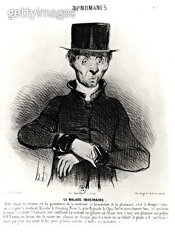 <b>Title</b> : Le Malade Imaginaire, from the series 'Monomanes', 1830 (litho) (b/w photo)<br><b>Medium</b> : lithograph<br><b>Location</b> : Private Collection<br> - gettyimageskorea