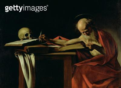 <b>Title</b> : St Jerome Writing, c.1604 (oil on canvas) (for detail see 64912)<br><b>Medium</b> : oil on canvas<br><b>Location</b> : Galleria Borghese, Rome, Italy<br> - gettyimageskorea
