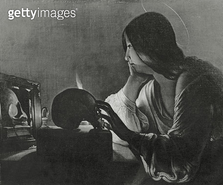 <b>Title</b> : The Magdalene with the Mirror (b/w photo)<br><b>Medium</b> : oil on canvas<br><b>Location</b> : Musee des Beaux-Arts, Besancon, France<br> - gettyimageskorea
