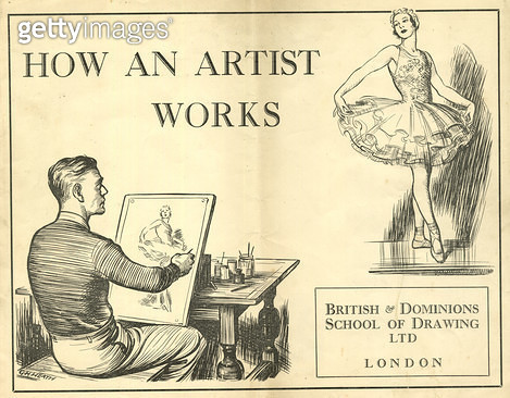 How An Artist Works, British & Dominions School of Drawing Ltd, London. showing an artist drawing a ballerina. - gettyimageskorea