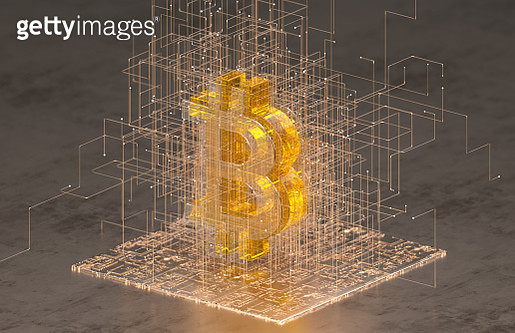 Close up of transparent bitcoin sign standing on golden digital surface surrounding by wire network. - gettyimageskorea