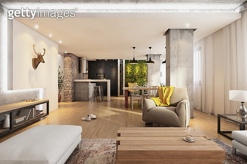 Modern hipster living room interior with wooden floor, armchair, open space with light, decoration, brick wall. Kitchen in the back, and green wall. Horizontal render. no people. - gettyimageskorea