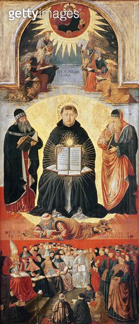 <b>Title</b> : The Triumph of St. Thomas Aquinas (tempera on panel)Additional InfoLe Triomphe de Saint Thomas d'Aquin; Tommaso d'Aquino; He thr<br><b>Medium</b> : tempera on panel<br><b>Location</b> : Louvre, Paris, France<br> - gettyimageskorea