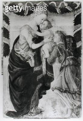 <b>Title</b> : The Virgin and Child with an angel (panel) (b/w photo)Additional InfoLa Vierge et l'Enfant avec un ange;<br><b>Medium</b> : panel<br><b>Location</b> : Musee Fesch, Ajaccio, Corsica, France<br> - gettyimageskorea
