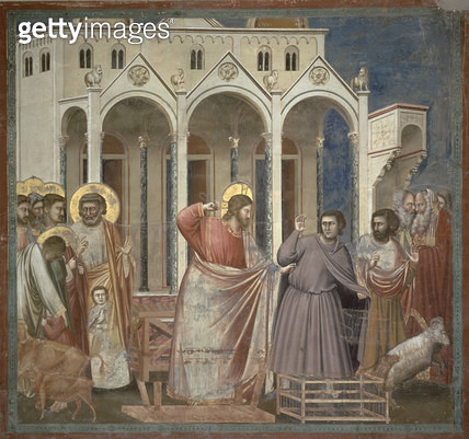 <b>Title</b> : The Cleansing of the Temple, c.1305 (fresco)<br><b>Medium</b> : <br><b>Location</b> : Scrovegni (Arena) Chapel, Padua, Italy<br> - gettyimageskorea